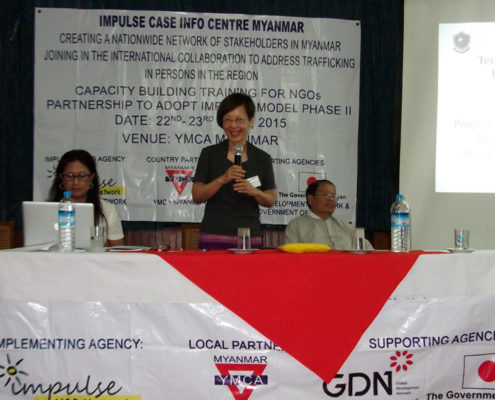Hasina Kharbhih - Chair of Board, Impulse NGO Network. Kyoko Kasuki - Chief Advisor JICA/ICTP U Tha Sein President Myanmar YMCA.